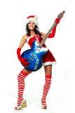 女孩吉他使用 免版税库存照片