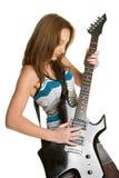 女孩吉他摇摆物 免版税库存照片