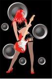 女孩吉他 免版税库存照片
