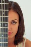 女孩吉他 免版税图库摄影