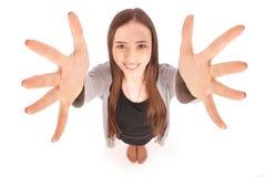 女孩向上递下拉式年轻人 库存图片