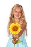 女孩向日葵 库存图片