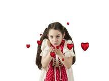 去女孩吹的心脏 免版税库存图片