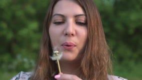 女孩吹的蒲公英在森林里 股票录像
