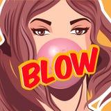 女孩吹的bubblegum,传染媒介例证 打击可笑的文本 库存例证