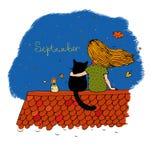 女孩和一只猫在屋顶 库存照片