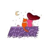 女孩和一只猫在屋顶 库存图片
