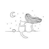 女孩和一只猫在屋顶 免版税库存照片