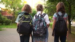 女孩和两个男孩去一起教育,学校友谊,学童运载在他们的肩膀的书包 股票视频