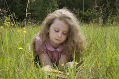 女孩和书 库存图片
