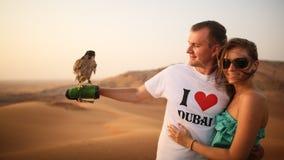 女孩和人在手边收留老鹰 沙漠在阿布扎比,阿联酋 免版税库存照片