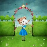 女孩和兔子 皇族释放例证