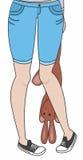 女孩和女用连杉衬裤野兔 库存照片