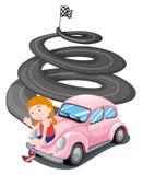 女孩和她的桃红色赛车 库存例证
