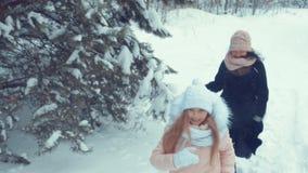 女孩和妇女奔跑通过多雪的森林 股票视频