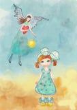 女孩和守护天使 库存照片