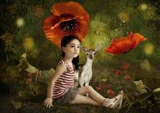 女孩和小的鹿 向量例证