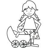女孩和摇篮车-彩图 免版税库存照片
