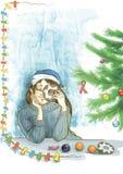 女孩和新年 五颜六色的例证 象查找的画笔活性炭被画的现有量例证以图例解释者做柔和的淡色彩对传统 Jenuary 冬天 库存图片