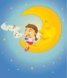 女孩和月亮 免版税库存图片