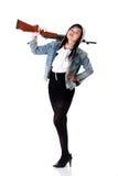 女孩和枪 免版税库存图片