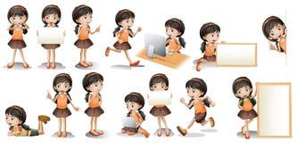 女孩和标志 免版税图库摄影