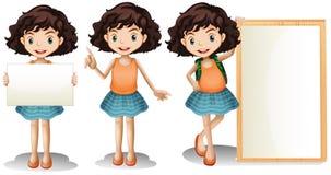 女孩和标志 向量例证