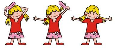 女孩和梳子 向量例证