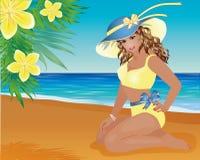 女孩和棕榈花的夏天别针 免版税库存图片