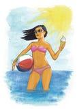 女孩和海运 五颜六色的例证 拉长的例证 jule 夏天 免版税库存图片