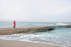 女孩和海,在码头的鸥 免版税库存照片
