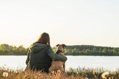 女孩和爱犬在湖附近日落的 免版税库存图片