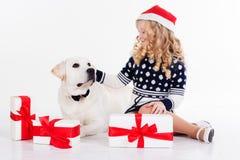 女孩和狗在白色隔绝的演播室 库存图片