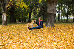 女孩和狗在秋天公园 免版税库存图片