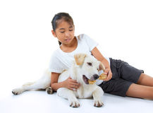 女孩和狗 免版税库存图片
