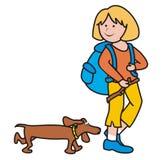 女孩和狗 库存图片