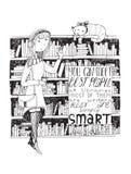 女孩和猫会议在图书馆里 导航手拉的例证,做用贷方和白皮书 库存图片