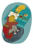 女孩和猫阅读书 导航手拉的例证,五颜六色和明亮,有蓝色背景 隔绝在白色,与simp 免版税图库摄影