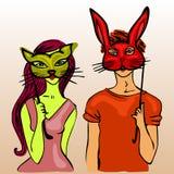 女孩和男孩佩带的面具 免版税库存照片