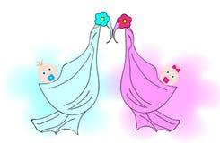女孩和男孩尿布的 免版税库存图片
