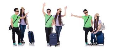 女孩和男孩带着在白色隔绝的手提箱 图库摄影