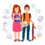 女孩和男孩有书和滑板的 向量例证
