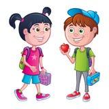 女孩和男孩有背包和午餐的 向量例证