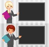 女孩和男孩的动画片例证在办公室 库存照片