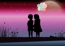 女孩和男孩看起来美好的月光 下载例证图象准备好的向量 免版税库存图片