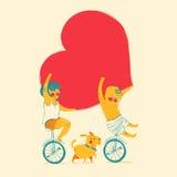 女孩和男孩骑自行车 儿童友谊愉快的重点爱 也corel凹道例证向量 免版税图库摄影