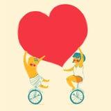 女孩和男孩骑自行车 儿童友谊愉快的重点爱 也corel凹道例证向量 库存图片
