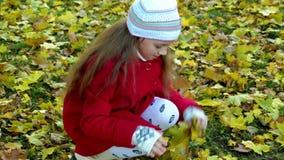 女孩和秋天 股票视频