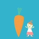 女孩和红萝卜 免版税库存图片