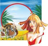 女孩和老虎 免版税库存图片